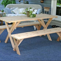 """Fifthroom - 27"""" Cedar Backyard Bash Cross Legged Picnic Table w/ Detached Benches - Our beautiful 27"""" Backyard Bash Cross Legged Picnic Table with Detached Benches will be a spectacular addition to your porch, patio, deck, backyard, or gazebo. Crafted from 100% red cedar, which possesses an abundance of natural oils that make it resistant to insects, warping, and decay, it's one of the most durable wood picnic tables available. With its attractive cross-legged design, it's also one of the most stylish."""