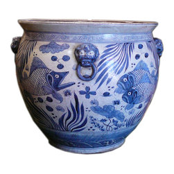 Golden Lotus - Chinese Vintage Finish Blue & White Porcelain Fish Pot - This is a large porcelain pot in blue and white color and oriental style fishes graphic as the theme. It has vintage looking finish.