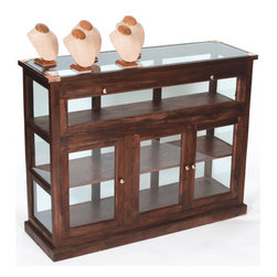Shop Vitrine - Shop Vitrine gives you a striking and eye-catching look. It features a glass top framed well in wooden to provide a classy look. It exhibits a euro waxed finish for glossy and attractive appeal. It has ample space with multiple shelves to provide you with better facility.