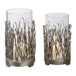 Uttermost - Corbis Candleholders Set of 2 - Hand forged metal with a silver finish and light champagne highlights.