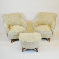 Vladimir Kagan Barrel Chairs & Ottoman, Vladimir Kagan  design - Vladimir Kagan