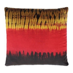 5 Surry Lane - Black Red and Gold Ikat Stripe Pillow - Give your living room or bedroom a mini-makeover with this exotic, artisan-woven accent pillow. The colorful ikat pattern will coordinate pleasingly with your eclectic decor.