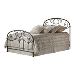 """FBG - Grafton Metal Bed - The Grafton Metal Bed is a beautiful piece that will add style and class to any bedroom. The curvy designs of the headboard and footboard give this metal bed a soft feel. This bed will fit perfectly in any sleeping space. Features: -Rusty Gold finish.-Powder Coated Finish: Yes.-Gloss Finish: No.-Finish: Rusty Gold.-Hardware Finish: Black.-Frame Material: Metal.-Upholstered: No.-Number of Items Included: 1 Headboard, 1 Footboard, 1 Bed Frame.-Hardware Material: Metal.-Non Toxic: Yes.-Scratch Resistant: No.-Mattress Included: No.-Box Spring Required: Yes -Boxspring Included: No..-Headboard Storage: No.-Footboard Storage: No.-Underbed Storage: No.-Slats Required: No.-Center Support Legs: Yes.-Adjustable Headboard Height: No.-Adjustable Footboard Height: No.-Wingback: No.-Trundle Bed Included: No.-Attached Nightstand: No.-Cable Management: No.-Built in Outlets: No.-Lighted Headboard: No.-Finished Back: Yes.-Reclaimed Wood: No.-Number of Center Support Legs (Size: Full): 0.-Number of Center Support Legs (Size: King): 2.-Number of Center Support Legs (Size: Queen): 2.-Number of Center Support Legs (Size: Twin): 0.-Distressed: No.-Bed Rails Included: Yes.-Collection: Grafton.-Eco-Friendly: No.-Recycled Content: No.-Wood Moldings: No.-Canopy Frame: No.-Hidden Storage: No.-Jewelry Compartment: No.-Weight Capacity: 750 lbs.-Swatch Available: No.-Commercial Use: No.-Product Care: Wipe with a clean, damp cloth.Specifications: -FSC Certified: No.-EPP Compliant: No.-CPSIA or CPSC Compliant: No.-CARB Compliant: No.-JPMA Certified: No.-ASTM Certified: No.-ISTA 3A Certified: No.-PEFC Certified: No.-General Conformity Certificate: No.-Green Guard Certified: No.Dimensions: -Overall Height - Top to Bottom (Size: Full): 52.25"""".-Overall Height - Top to Bottom (Size: King): 52.25"""".-Overall Height - Top to Bottom (Size: Queen): 52.25"""".-Overall Height - Top to Bottom (Size: Twin): 52.25"""".-Overall Width - Side to Side (Size: Full): 54.75"""".-Overall Width - Side to Si"""