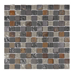 Somertile - SomerTile Reflections Square 1-in Wisp Glass/Stone Mosaic Tile (Pack of 10) 11.7 - These mosaic tiles are perfect for baths, backsplashes, and kitchens. A fascinating mix of smooth and textured glass accent these multicolored stone square tiles.