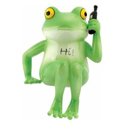 WL - 6 Inch Phony Green Frog Talking on Cell Phone Shelf Sitter Figurine - This gorgeous 6 Inch Phony Green Frog Talking on Cell Phone Shelf Sitter Figurine has the finest details and highest quality you will find anywhere! 6 Inch Phony Green Frog Talking on Cell Phone Shelf Sitter Figurine is truly remarkable.