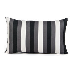 LaCozi - Black, Cream and Gray Striped Pillow - This subtle striped pillow works in harmony among the trappings of a cosmopolitan condo or on the couch in your cozy ski cabin. The simple cream, black and gray pattern integrates with every color and decor.