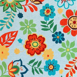 """Kas - Retro Floral Lt.Blue Sonesta Floral 7'6"""" Round Kas Rug  by RugLots - Join us in the fun as you coast through our Sonesta Collection. Hand-hooked in China of 100% polyester, these rugs will add pizzazz to any room throughout your home. Some are fun, some are flirty"""
