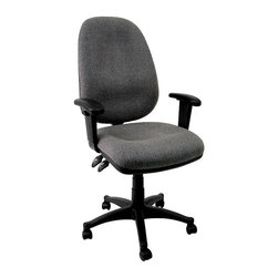 Flash Furniture - Contemporary Ergonomic Swivel Office Chair w - Ergonomic computer chair. Swivel chair. Pneumatic height adjustment. Back angle adjustment. Lumbar support. Gray fabric. 5 Star nylon base with casters. Height adjustable arms. Seat Height: 16.5 in. - 21 in. H. Height: 40.75 in. - 45.25 in. H. Back: 18.75 in. W x 23.25 in. H. Arm Height: 6.75 in. - 9.25 in. (from Seat). Seat: 20.5 in. W x 18.5 in. D (25 lbs.)