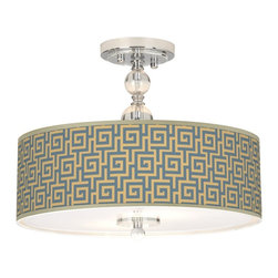 """Giclee Gallery - Asian Greek Key Storm Giclee 16"""" Wide Semi-Flush Ceiling Light - Custom printed giclee shade. Greek Key Storm pattern. Clear crystal. Chrome finish hardware. Acrylic diffuser. Takes two maximum 100 watt or equivalent bulbs (not included). 12 3/4"""" high. 16"""" wide. Canopy is 5"""" wide.   Custom printed giclee shade.  Greek Key Storm pattern.  Clear crystal.  Chrome finish hardware.  Acrylic diffuser.  Takes two maximum 100 watt or equivalent bulbs (not included).  12 3/4"""" high.  16"""" wide.  Canopy is 5"""" wide."""