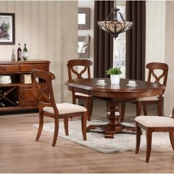 Sunset Trading Andrews 5 Piece Pedestal Dining Set - Chestnut - The Sunset Trading Andrews 5 pc. Pedestal Dining Set is a lovely family sized table that can extend to allow extra seating when guests come around. Exquisitely designed this table features an octagonal base pedestal style base and is the perfect height for taller chairs and stools. The self-storing leaf effortlessly extends the table an extra 12 inches and achieves an oval shape that's sure to impress. Great for casual as well as formal dining Andrews Pedestal Oval Dining Table is a wonderful addition to any home. Warm chestnut wood finish. Table dimensions: 48-60L x 48W x 30H inches when fully assembled with leaf. Chair dimensions: 21W x 19D x 38H inches. Backed by a one-year limited warranty. Server: You can choose to add the matching dining server. Features include; wood construction with Asian hardwoods and veneers with a warm chestnut finish. 2 felt-lined drawers with European glides. Spacious storage cabinet and wine rack. Metal hardware and molded feet. Full length open shelving for easy access or showcasing decorative items. Server dimensions: 48L x 17W x 36H inches. About Sunset TradingThis product is designed and manufactured by Sunset Trading. Located in Londonderry New Hampshire Sunset Trading creates high quality furniture for bedrooms living and dining rooms. Their furniture features side roller drawer guides four corner English dovetails solids and veneers. Dining rooms feature epoxy resin constructed chairs with metal support brackets which make their chairs 100 times stronger than glued chairs. Rest assured you're making an excellent choice when you purchase a fine furniture item from Sunset Trading.
