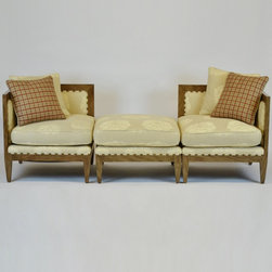 Three Piece Sectional, Pair of chairs & Ottoman by Frank Delle Donne - Designer: Frank Delle Donne