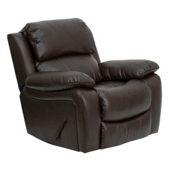 Flash Furniture - Flash Furniture Brown Leather Rocker Recliner - MEN-DA3439-91-BRN-GG - This motion recliner will provide you comfort with the added bonus of the rocking feature. The rocker recliner can not only be used in the living room, but makes for a great nursery chair. The gentle back and forth rocking is soothing to both babies and adults. The thick cushions add to the comfort level to provide you comfort while you relax. The durable leather upholstery allows for easy cleaning and regular care. [MEN-DA3439-91-BRN-GG]