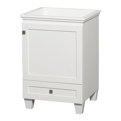 """Wyndham Collection - 24"""" Acclaim Single Bathroom Vanity in White, No Countertop & No Sink - Sublimely linking traditional and modern design aesthetics, and part of the exclusive Wyndham Collection Designer Series by Christopher Grubb, the Acclaim Vanity is at home in almost every bathroom decor. This solid oak vanity blends the simple lines of traditional design with modern elements like beautiful overmount sinks and brushed chrome hardware, resulting in a timeless piece of bathroom furniture. The Acclaim comes with a White Carrera or Ivory marble counter, a choice of sinks, and matching mirrors. Featuring soft close door hinges and drawer glides, you'll never hear a noisy door again! Meticulously finished with brushed chrome hardware, the attention to detail on this beautiful vanity is second to none and is sure to be envy of your friends and neighbors"""