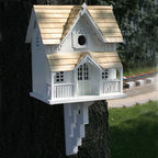 Gingerbread Cottage Bird House - White with Pine Shingle Roof - The Gingerbread Cottage Bird House is a classic Victorian style birdhouse accented with a front arch and topped with pine shingles. This lovely bird house comes with a mounting bracket and has a removable back for easy cleaning.