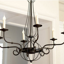Antique Iron Art and Candles Chandelier -