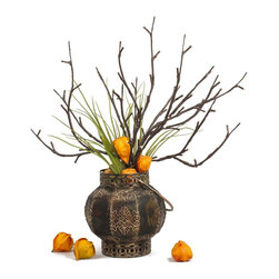 The Firefly Garden - China Doll - Illuminated Floral Design, Rustic Lantern - China Doll is an illuminated piece that glows with an Asian simplicity of form. Lighted branches extend outward from a rustic, mesh lantern. Touches of green, orange and brown create a beautiful accent arrangement.