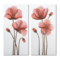 Uttermost - Uttermost Floral Aura Art, Set of 2 41376 - This hand painted artwork features stately flowers on canvas that is stretched and attached to wooden stretching bars. Due to the handcrafted nature of this artwork, each piece may have subtle differences.