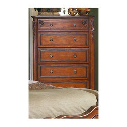 Homelegance - Madaleine Chest w Dovetailed Drawers - Metal glides. Cabriole legs. Intricate carvings and overlays. Made from select hardwoods and veneers. Warm cherry finish. 38 in. W x 18 in. D x 55 in. HThe refined elegance of old world France is captured in this bedroom.