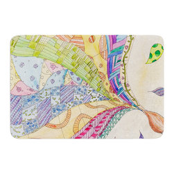 """KESS InHouse - Catherine Holcombe """"The Painted Quilt"""" Memory Foam Bath Mat (17"""" x 24"""") - These super absorbent bath mats will add comfort and style to your bathroom. These memory foam mats will feel like you are in a spa every time you step out of the shower. Available in two sizes, 17"""" x 24"""" and 24"""" x 36"""", with a .5"""" thickness and non skid backing, these will fit every style of bathroom. Add comfort like never before in front of your vanity, sink, bathtub, shower or even laundry room. Machine wash cold, gentle cycle, tumble dry low or lay flat to dry. Printed on single side."""