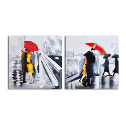 """Omax Decor - Under the Red Umbrella Hand painted 2 Piece Canvas Set - Overall size: 32"""" x 64"""" (32"""" x 32"""" x 2 pc). Enjoy a 100% Hand Painted Wall Art made with acrylic paints on canvas stretched over a 1"""" thick wooden frame. The painting is professionally hand-stretched and ready to hang out of the box. With each purchase of our art you receive a one of a kind piece due to the handcrafted nature of the product."""