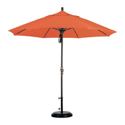 None - Fiberglass 9-foot Pacifica Tuscan Crank and Tilt Umbrella - This unique and durable fiberglass nine-foot Tuscan crank and tilt patio umbrella is constructed of a mold,mildew,and fade-resistant fabric. This sturdy and convenient umbrella features an aluminum pole and a crank open mechanism.
