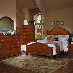 Vaughan Bassett - 5 Pc Panel Bedroom Set in Cherry Finish (Cali - Choose Bed Size: California KingIncludes panel bed, commode, chest, triple dresser and landscape mirror. Cherry finish. Assembly required. Commode:. 2 Drawers. 1 Open shelf. 28 in. W x 16 in. D x 29 in. H. Chest:. 5 Drawers. 38 in. W x 18 in. D x 54 in. H. Triple dresser:. 9 Drawers. 58 in. W x 18 in. D x 44 in. H. Landscape mirror: 42.5 in. L x 2 in. W x 38 in. H. Panel bed:. Full Size:. Includes panel headboard, panel footboard and wood rails with 3 1-inch slats. Panel headboard: 63 in. L x 2 in. W x 62 in. H. Panel footboard: 65 in. L x 2.5 in. W x 29 in. H. Wood rails: 76 in. L x 6 in. W x 1 in. H. Queen Size: . Includes panel headboard, panel footboard and wood rails with 3 1-inch slats. Panel headboard: 63 in. L x 2 in. W x 62 in. H. Panel footboard: 65 in. L x 2.5 in. W x 29 in. H. Wood rails: 82 in. L x 6 in. W x 1 in. H. Eastern King Size:. Includes panel headboard, panel footboard and wood rails with 6 1-inch slats. Panel headboard: 80 in. L x 2 in. W x 62 in. H. Panel footboard: 82 in. L x 2.5 in. W x 29 in. H. Wood rails: 82 in. L x 6 in. W x 1 in. H. California King Size: . Includes panel headboard, panel footboard and wood rails with 6 1-inch slats. Panel headboard: 80 in. L x 2 in. W x 62 in. H. Panel footboard: 82 in. L x 2.5 in. W x 29 in. H. Wood rails: 86 in. L x 6 in. W x 1 in. H