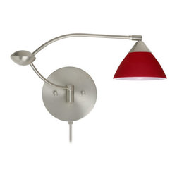 Besa Lighting - Besa Lighting 1WU-174331-CP Domi 1 Light Swing Arm Halogen Wall Sconce - Domi has a classical bell shape that complements aesthetic, while also built for optimal illumination. Our Red Matte glass is a vibrant primary red pressed glass, with a white inner layer. This decor can add an edgy, classic, or contemporary feel to any room. When lit this gives off a light that is functional and energetic. The smooth satin finish on the clear outer layer is a result of an extensive etching process. This handcrafted glass uses a process where every glass is consistently produced using a press mold, keeping variations to a minimum. The swing arm fixture includes a 12V electronic transformer and integrated full-range rotary dimmer. The adjustable arm assembly allows for 155 degree rotation and pivots at the clamshell-shaped center connection.Features: