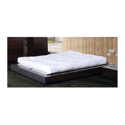 Beverly Hills Furniture - Zen Bed in Espresso (King) - Choose Size: KingAsh veneer in espresso finish. Platform slats system for mattress support. Factory built casegoods. Full extension ball-bearing tracks for all drawers. Simple platform with generously proportioned side rails. Matress and box spring not included. Full bed: 70 in. W x 92 in. L x 8 in. H. Queen bed: 76 in. W x 97 in. L x 8 in. H. King bed: 94 in. W x 97 in. L x 8 in. HCrafted from carefully selected solids and ash veneers, the Zen Bedoffers excellent workmanship in a contemporary package.  This Asian inspired bed is a simple platform bed with thick block rails unhindered by constraints of a headboard.