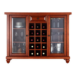 Crosley Furniture - 20 in. Sliding Top Bar Cabinet - Sliding expandable top. Beveled or tempered glass doors. Raised front panel drawer. Adjustable shelves and plentiful storage space for spirits, appliances and other items. Center storage area is great for up to fifteen bottles of wine. Can be remove wine storage cubes to reveal an adjustable shelf. Antique brass hardware. Doubles as a serving station when entertaining. Adjustable levelers in legs. ISTA 3A certified. Warranty: 90 days. Made from solid hardwood and wood veneers. Cherry finish. Assembly required. Min: 47.75 in. W x 20 in. D x 36 in. H (220 lbs.). Max: 64 in. W x 20 in. D x 36 in. H (220 lbs.)Elegantly entertain guests with this sliding top bar cabinet Style, function and quality make this sliding top bar cabinet a wise addition to your home.