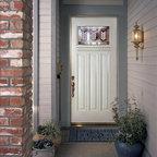 Smooth Skin Fiberglass Door Series - Plastpro's Smooth Skin Door- 3/0 x 6/8 SMOOTH SKIN SERIES: Craftsman w/ Dentil: Spring Patina ---