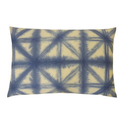 JITI - Butterfly Blue Pillow - Freshen your living room or bedroom with this blue cotton pillow and chase the blues away. Enjoy total comfort with an insert composed of a feather and down blend.