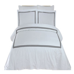 Bed Linens - Maya Embroidered Duvet cover Set Full-Queen White & Black - You are invited to experience the comfort, luxury and softness of our luxurious Embroidered duvet covers. Silky Soft made from 100% Egyptian cotton with 300 Thread count woven with superior single ply yarn. Quality linens like this one are available only at selected Five Stars Hotels.