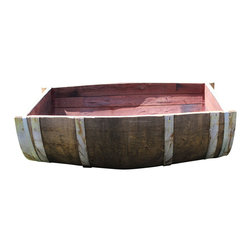 "Master Garden Products - Oak Wood Split Wine Barrel Planter 26""W x 35""L x 13""H - These unique split wine barrels are wonderful as indoor decoration stands and outdoor planters. It saves space when used in the corners of your home, yet  provides a large planting area outdoors as a beautifully decorated planter as it's large enough to fit all your favorite plants.  We use  authentic oak wood wine barrels with good quality and value in mind. Unlike whisky barrels,  classic wine barrels are better built, and wrapped with three galvanized steel bands to prevent rust which are frequently seen in whiskey barrels.  We give you the option of drilled drainage holes on the bottoms of your barrel planters. If you plan to use the wine barrels for planting, then drainage holes are needed, so excess water may drain out of the containers without drowning and killing the plants. Of course you may also use these barrel planters for other purposes without the  need of drain holes at the bottoms.  Planter stand not included.  Made of reclaimed oak staves from reclaimed wine barrels; color tone may vary from one product to another"
