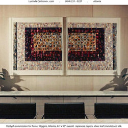 Lucinda Carlstrom - Japanese papers, hand painted paste papers, new and recycled silk and 23k gold and bronze leaf that is sewn into mixed media quilt constructions that are framed under glass.  A new series of Map Art Quilts, which do not have to be framed, are available also.