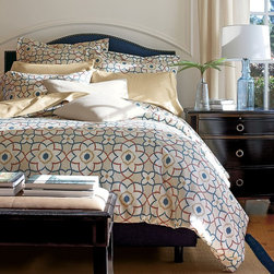 Wentworth Wrinkle-Free Comforter Cover/ Duvet Cover - This bedding is perfect for the master bedroom, and in colors that work year round. I love how this set evokes a stained glass or tile motif.