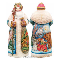 """Artistic Wood Carved Peaceful Kingdom Santa Claus Sculpture - Measures 10""""H x 3""""L x 4.25""""W and weighs 2 lbs. G. DeBrekht fine art traditional, vintage style sculpted figures are delightful and imaginative. Each figurine is artistically hand painted with detailed scenes including classic Christmas art, winter wonderlands and the true meaning of Christmas, nativity art. In the spirit of giving G. DeBrekht holiday decor makes beautiful collectible Christmas and holiday gifts to share with loved ones. Every G. DeBrekht holiday decoration is an original work of art sure to be cherished as a family tradition and treasured by future generations. Some items may have slight variations of the decoration on the decor due to the hand painted nature of the product. Decorating your home for Christmas is a special time for families. With G. DeBrekht holiday home decor and decorations you can choose your style and create a true holiday gallery of art for your family to enjoy. All Masterpiece and Signature Masterpiece woodcarvings are individually hand numbered. The old world classic art details on the freehand painted sculptures include animals, nature, winter scenes, Santa Claus, nativity and more inspired by an old Russian art technique using painting mediums of watercolor, acrylic and oil combinations in the G. Debrekht unique painting style. Linden wood, which is light in color is used to carve these masterpieces. The wood varies slightly in color."""