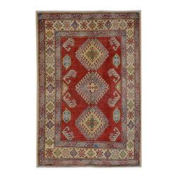 "ALRUG - Handmade Red/Burgundy Oriental Kazak Rug 3' 7"" x 5' 4"" (ft) - This Afghan Kazak design rug is hand-knotted with Wool on Cotton."