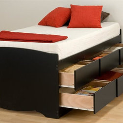 Prepac - Twin Storage Platform Bed - Suitable for twin-sized mattresses. Six drawers with sides glide on metal runners with built-in safety stops. Finger pulls at the bottom of each drawer front for easy opening. Weight capacity: 250 lbs.. Warranty: Five years. Made from CARB-compliant, laminated composite woods. Black finish. Made in North America. Drawer: 21.5 in. W x 18 in. D x 5 in. H. Overall: 76.5 in. L x 41 in. W x 27 in. HImagine how much more storage space youd have with the Tall Twin Captains Platform Storage Bed with 6 Drawers. This captains bed is perfect for bedrooms where space is at a premium. With six drawers that can be installed on either side of the bed, youll actually gain space while storing clothing, linens and more! You wont need a box spring, either: the slat support system needs nothing more than your mattress. So get rid of space-stealers and get this space-saving solution. Wood slats positioned length-wise distribute body weight evenly to ensure a good nights sleep.