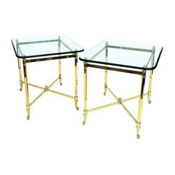 Gilded Metal & Glass End Tables - A pair of gorgeous vintage Hollywood Regency style end tables made of gilded metal and glass.  Each table has a cross stretchered bottom and a thick, bevelled glass top.  Made in Italy.  There is also a matching coffee table listed separately, please contact Support if you are interested in purchasing the entire set.