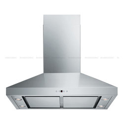 "Spagna Vetro - SPAGNA VETRO 30; SV198F-SP30 Wall-Mounted Stainless Steel Range Hood - Mounting version - Wall Mounted 860 CFM single centrifugal blower Stainless Steel Panel (Filterless Perimeter Suction) Six-speed electronic, touch sensitive control panel with LCD display Delayed power auto shut off (programmable 1-15 minutes) 30 hours cleaning reminder Four dimmable 35W halogen lights (GU-10 type light bulbs) Heavy duty 19 gauge stainless steel (brushed finish) Telescopic decorative chimney of variable dimension 6"" round duct vent exhaust and back draft damper Venting Mode DuctFor residential use only, one-year limited factory warranty"