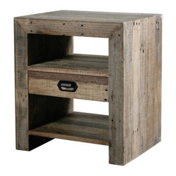Marco Polo Imports - Hector Night Stand - Old world night stand crafted from sustainable reclaimed woods with one drawer in a nostalgic rustic natural finish.