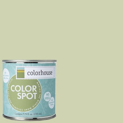 ColorSpot Eggshell Interior Paint Sample, Glass .01, 8-oz - Test color before you paint with the Colorhouse Colorspot 8-oz  paint sample. Made with real paint and in our most popular eggshell finish, Colorhouse paints are 100% acrylic with NO VOCs (volatile organic compounds), NO toxic fumes/HAPs-free, NO reproductive toxins, and NO chemical solvents. Our artist-crafted colors are designed to be easy backdrops for living.