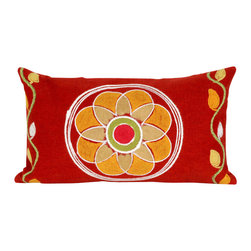 """Trans-Ocean Inc - Maroma Red 12"""" x 20"""" Indoor Outdoor Pillow - The highly detailed painterly effect is achieved by Liora Mannes patented Lamontage process which combines hand crafted art with cutting edge technology. These pillows are made with 100% polyester microfiber for an extra soft hand, and a 100% Polyester Insert. Liora Manne's pillows are suitable for Indoors or Outdoors, are antimicrobial, have a removable cover with a zipper closure for easy-care, and are handwashable.; Material: 100% Polyester; Primary Color: Red;  Secondary Colors: green, orange, white; Pattern: Maroma; Dimensions: 20 inches length x 12 inches width; Construction: Hand Made; Care Instructions: Hand wash with mild detergent. Air dry flat. Do not use a hard bristle brush."""