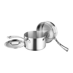 Cuisinart - Cuisinart French Classic Triple Ply Stainless Steel 3-Piece Double Boiler Set - Professional triple ply construction features an aluminum core bonded to an 18/10 stainless interior and high-polished stainless exterior
