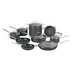 Cuisinart - Cuisinart Chef's Classic Non-Stick Hard Anodized 17-Piece Cookware Set - Hard anodized exterior is dense, nonporous and highly wear-resistant for extra durability