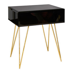 "Worlds Away - Worlds Away Debra Black Glass Side Table - The Worlds Away Debra side table elicits intoxicating drama. Atop golden hairpin legs, a contemporary black glass top lends the mod living room sleek sophistication.  24""W x 18""D x 30""H; Gold-leafed legs; Single drawer on glides"