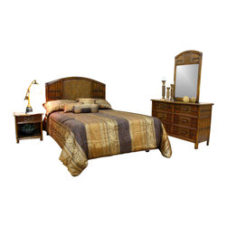 Hospitality Rattan - Polynesian 4 PC Twin Bedroom Set in Antique F - Choose Size: KingBlending a natural weave with rattan caning, the Polynesian bedroom set is like a warm tropical breath of fresh air. The antique brown finish highlights each of its unique characteristics that give each piece personality. Headboard sizes are twin, queen and king. Include: Headboard - 6 Drawer Dresser - Nightstand - Mirror. Made of Wood Frame & Woven Wicker . Finished in Antique Color. Durable, yet elegant construction. Fully assembled. Tropical island style design. Mirror: 28 in. W x 2 in. L x 46 in. H (26 lbs.). Nightstand: 22 in. W x 20 in. L x 24 in. H (26 lbs.). 6 Drawer Dresser: 52 in. W x 20 in. L x 35 in. H (122 lbs.). Twin Headboard: 43 in. W x 2 in. L x 54 in. H (17 lbs.). Queen Headboard: 65 in. W x 2 in. L x 54 in. H (35 lbs.). King Headboard: 83 in. W x 2 in. L x 54 in. H (50 lbs.)This Polynesian bedroom collection is one of our fine rattan and bamboo sets. The great looking tropical wicker bedroom set. In addition metal glides are used on all the case good pieces. Glass is not included.