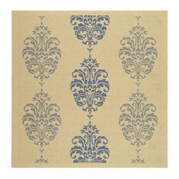 Safavieh - Country Square Rug (6 ft. 7 in. x 6 ft. 7 in.) - Size: 6 ft. 7 in. x 6 ft. 7 in. Specially-developed sisal weave. Power loomed. Intricate and elaborated design. Machine made. Made from polypropylene. Natural and blue color. Made in Belgium. Safavieh takes classic beauty outside of the home with the launch of their Courtyard Collection. Care Instructions: Vacuum regularly. Brushless attachment is recommended. Avoid direct and continuous exposure to sunlight. Do not pull loose ends; clip them with scissors to remove. Remove spills immediately; blot with clean cloth by pressing firmly around the spill to absorb as much as possible. For hard-to-remove stains professional rug cleaning is recommended.