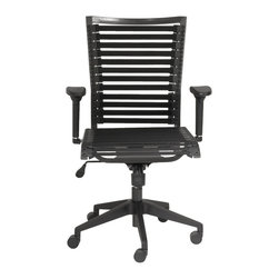 Eurostyle - Bungie Pro Flat High Back Office Chair-Black/Black - Looking for an office chair that doesn't look (or feel) like an office chair? Here's a cool seat that uses bungee cords to create a firm, yet flexible seat and back with adjustable armrests and an adjustable high back. Up, down and all around, this chair is king.