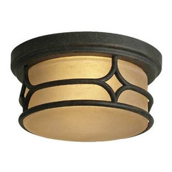 Kichler Lighting - Kichler 12-Inch Outdoor Ceiling Light - 9867AGZ - A dark finish with subtle gold highlights makes this round ceiling fixture a decorative and durable addition to nearly any home. The opalescent glass has a mellow amber color and emits a soft glow, perfect for illuminating any area indoors or out, and creates a warm welcome for guests. Measures 6 inches tall by 12 inches wide. Takes (2) 75-watt incandescent A19 bulb(s). Bulb(s) sold separately. Dry location rated.